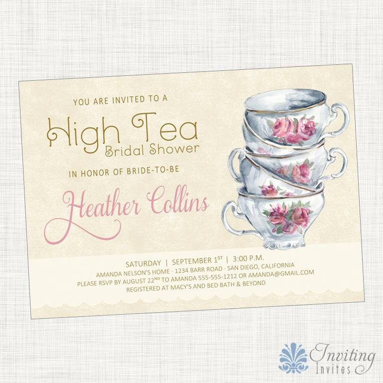 Tea Cup Invitation Template Awesome Tea Party Bridal Shower Invitation Baby Shower Invitation