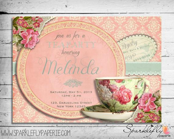 Tea Cup Invitation Template Elegant Vintage Tea Cup Invitation for Bridal Shower by