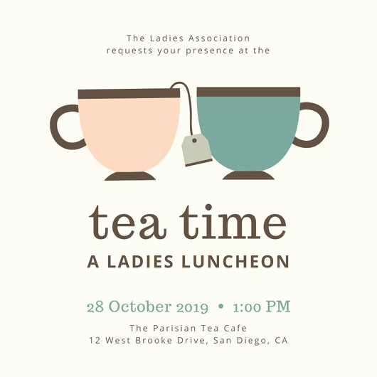 Tea Cup Invitation Template Lovely Customize 128 Tea Party Invitation Templates Online Canva