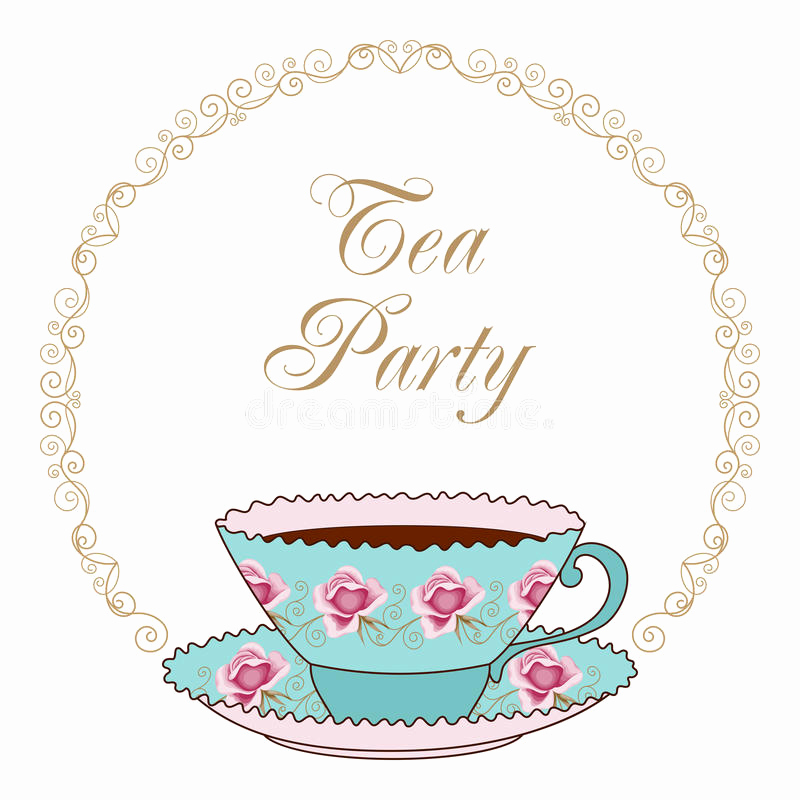 Tea Cup Invitation Template Lovely Tea Party Card Stock Vector Illustration Of Decorative