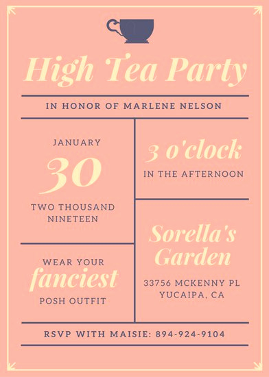 Tea Party Invitation Ideas Beautiful Customize 3 999 Tea Party Invitation Templates Online Canva