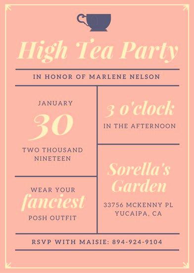 Tea Party Invitation Ideas Beautiful Customize 3 999 Tea Party Invitation Templates Online Canva