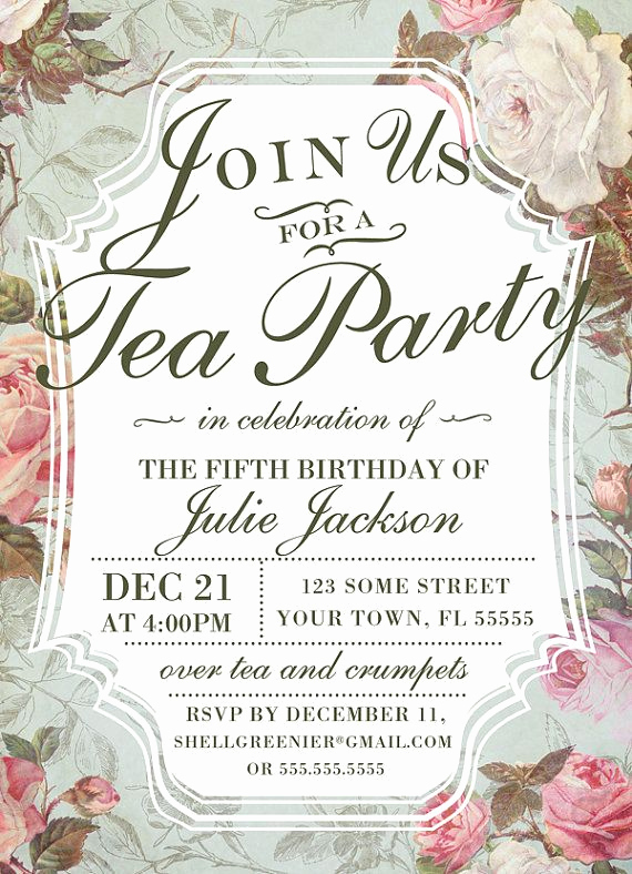 Tea Party Invitation Ideas Elegant Birthday Tea Party Invitation Template Vintage Rose Tea