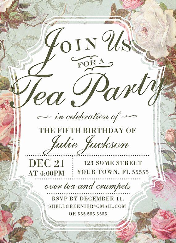 Tea Party Invitation Ideas Elegant Birthday Tea Party Invitation Template Vintage Rose Tea