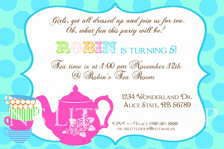Tea Party Invitation Ideas Fresh Tea Party Birthday Invitation Wording