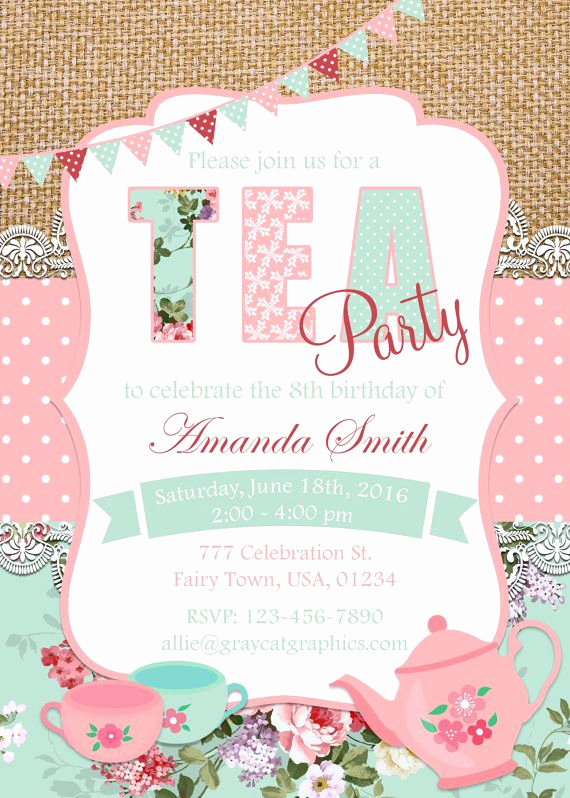 Tea Party Invitation Ideas Inspirational Tea Party Invitation Floral Tea Birthday Party Invitation