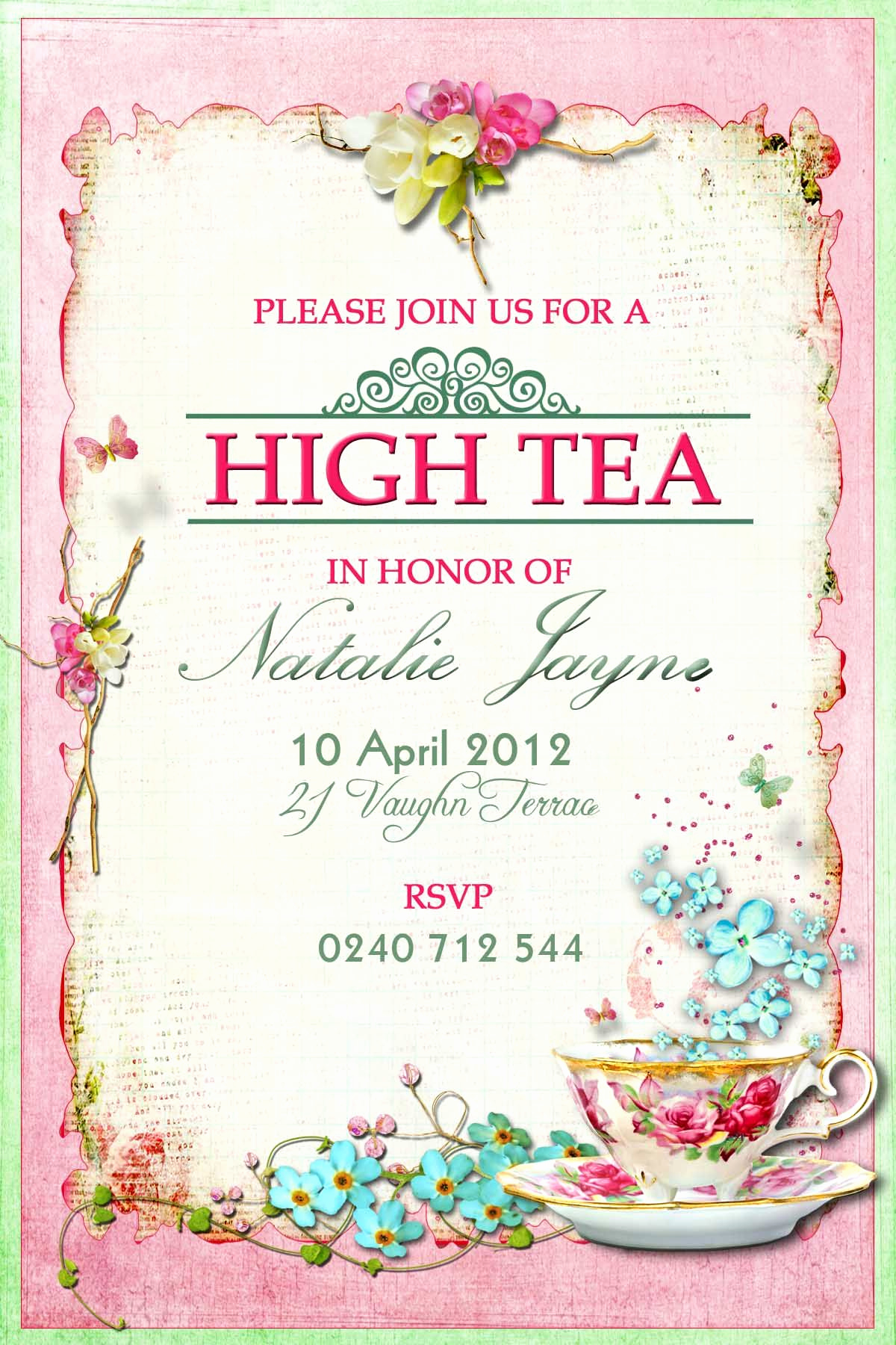 Tea Party Invitation Ideas Lovely Victorian High Tea Party Invitations Surprise Party