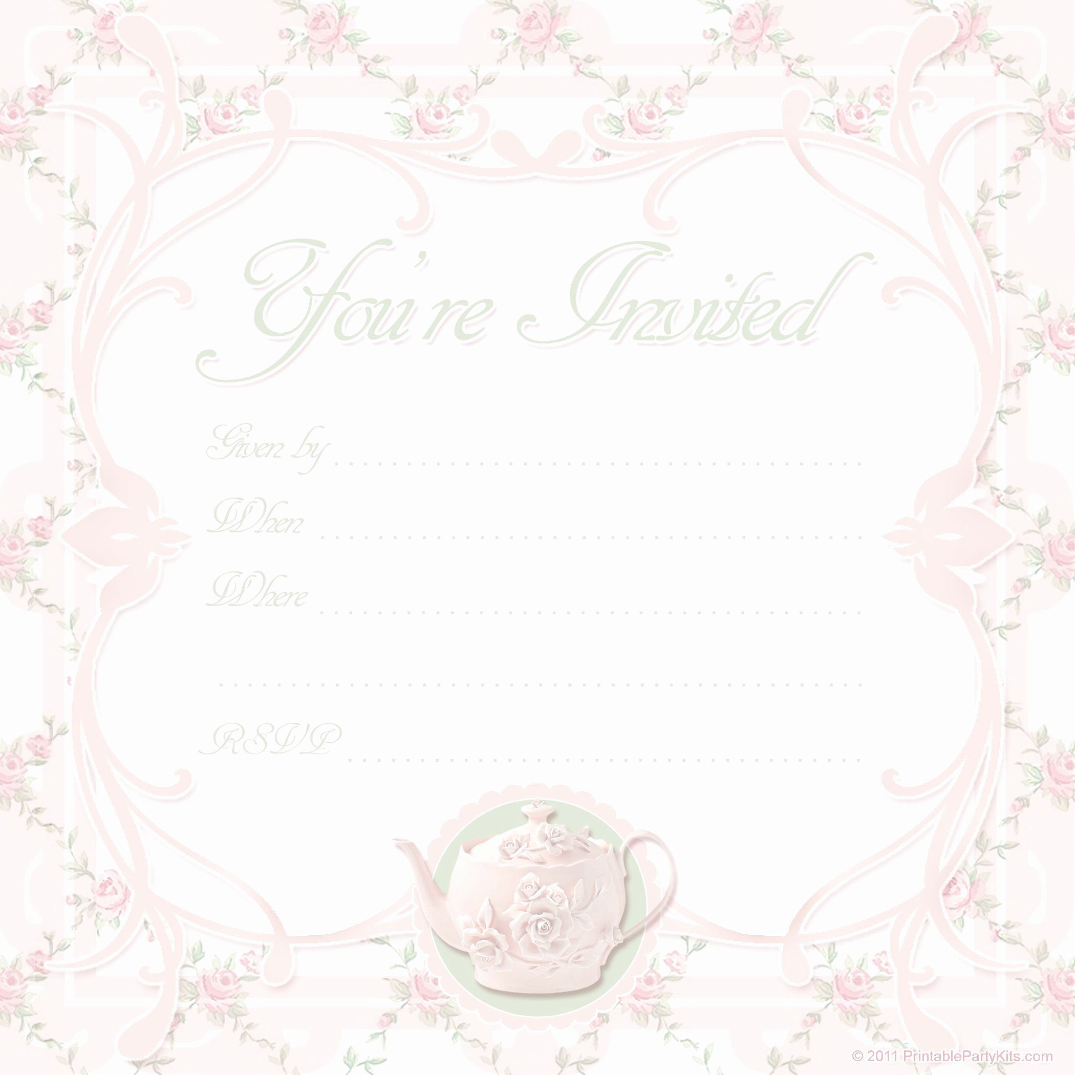 Tea Party Invitation Template Free Awesome Vintage Tea Party Invitations