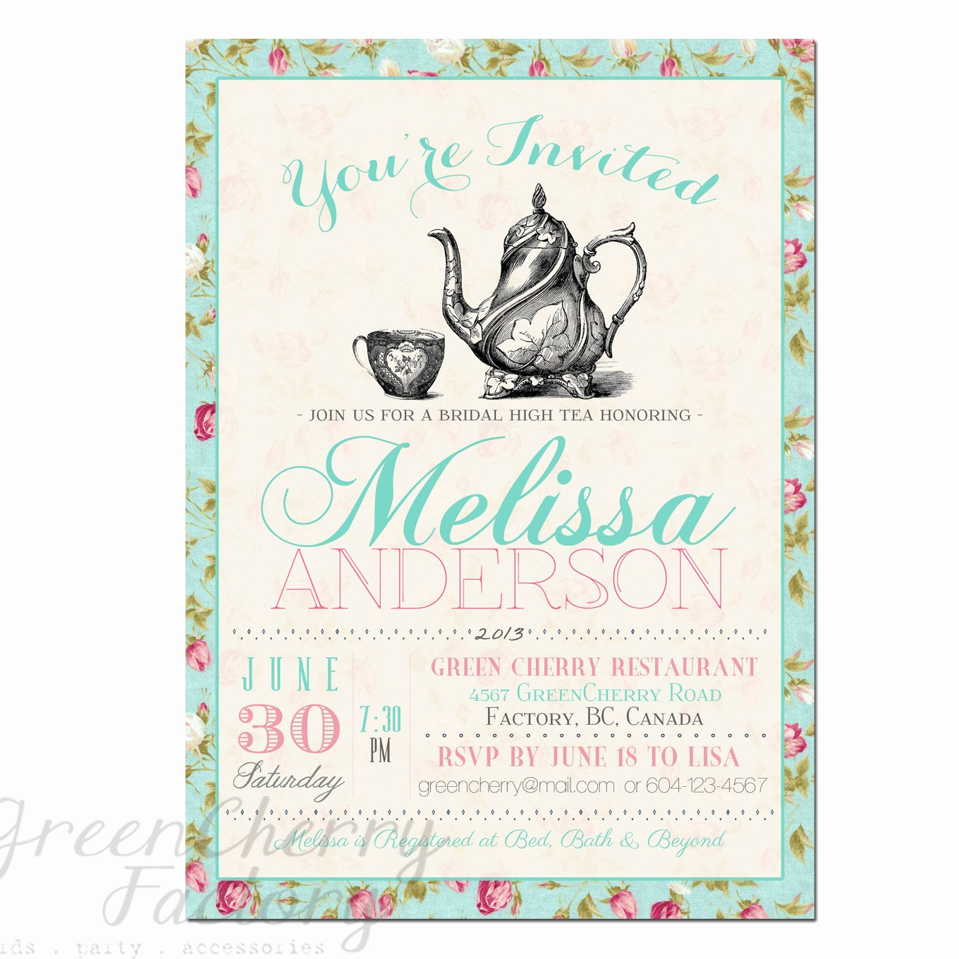 Tea Party Invitation Template Free Beautiful Items Similar to Tea Party Invitation Typography High