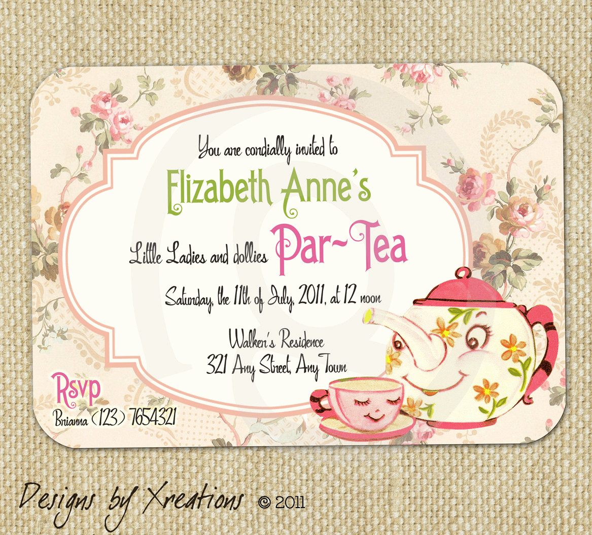 Tea Party Invitation Template Free Elegant Items Similar to Cute Vintage Tea Party Invitation Digital