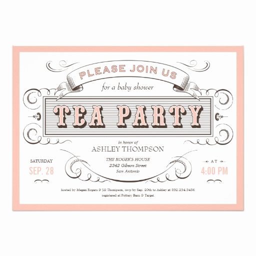 "Tea Party Invitation Template Free Elegant Vintage Tea Party Invitations 5"" X 7"" Invitation Card"