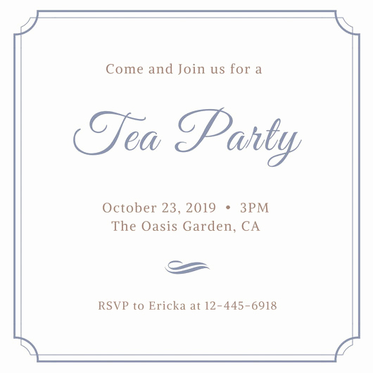 Tea Party Invitation Template Free Fresh Customize 128 Tea Party Invitation Templates Online Canva