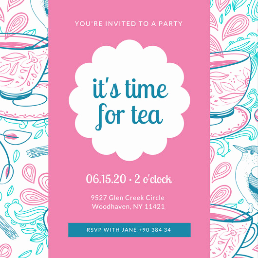 Tea Party Invitation Template Free Luxury Customize 128 Tea Party Invitation Templates Online Canva