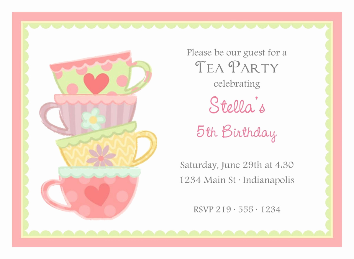 Tea Party Invitation Template Free Luxury Free afternoon Tea Party Invitation Template