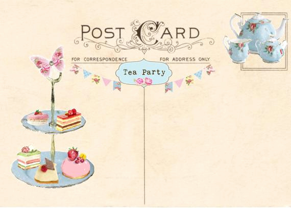 Tea Party Invitation Template Free Luxury Vintage Tea Party Invitation Tea Party Postcard Printable