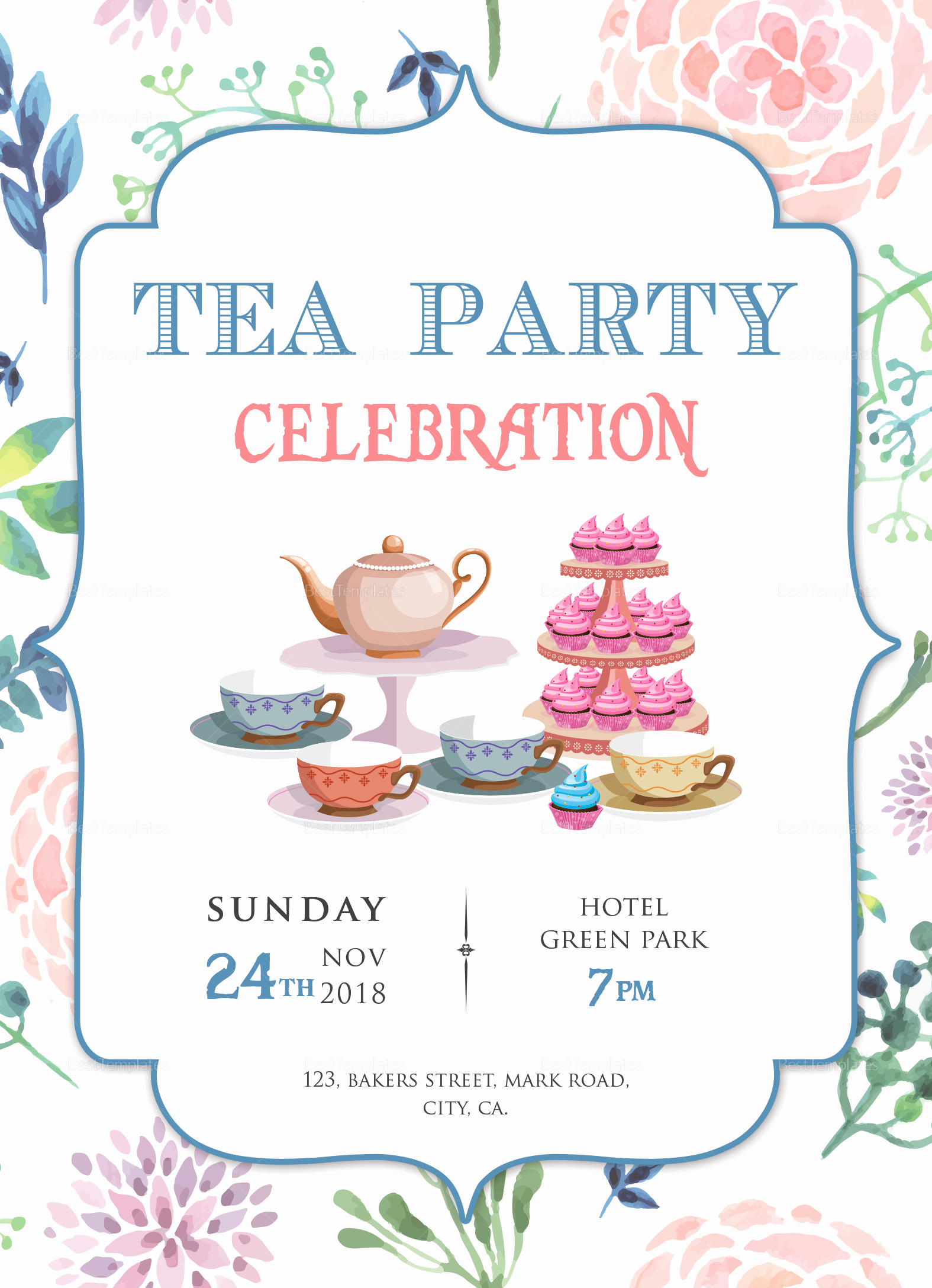 Tea Party Invitation Template Free New Elegant Tea Party Invitation Design Template In Word Psd