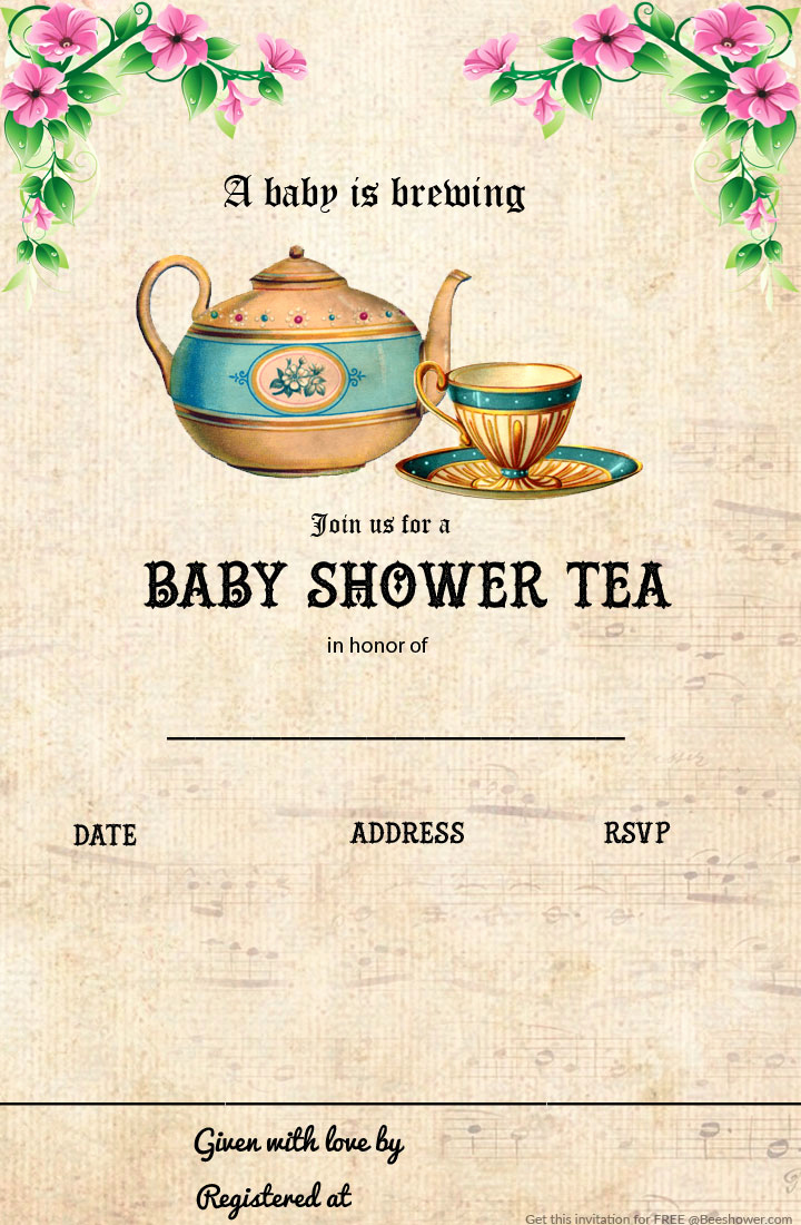 Tea Party Invitation Template Free New Free Printable Tea Party Baby Shower Invitation Template