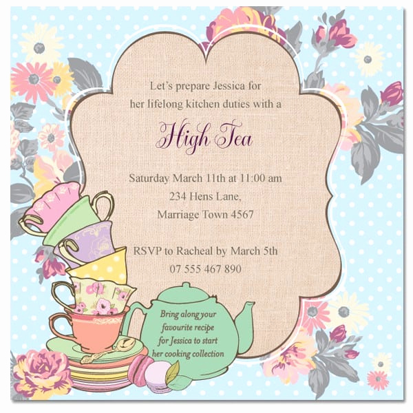 Tea Party Invitation Template Free New High Tea Invitation Template