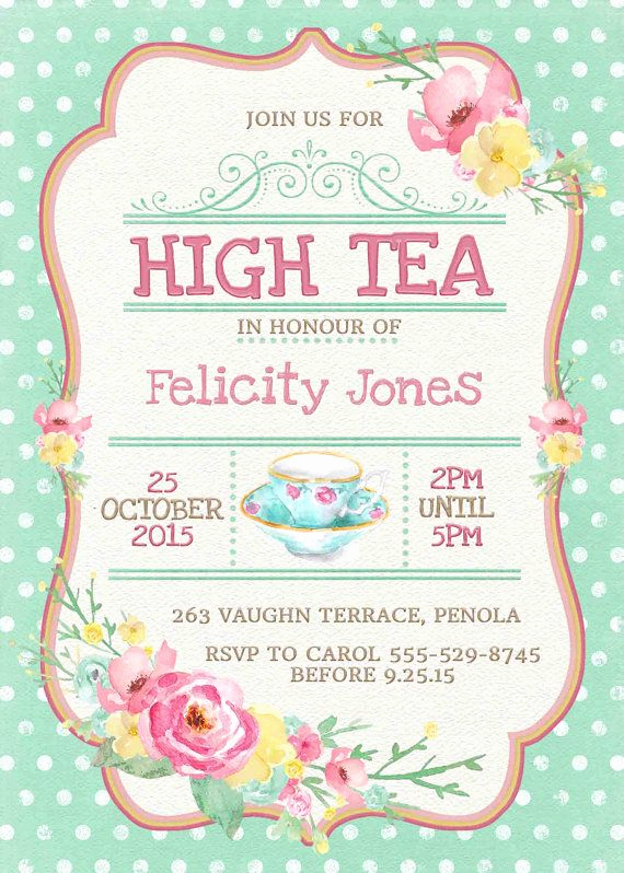 Tea Party Invitation Templates Awesome High Tea Invitation Printable for Bridal Shower Tea