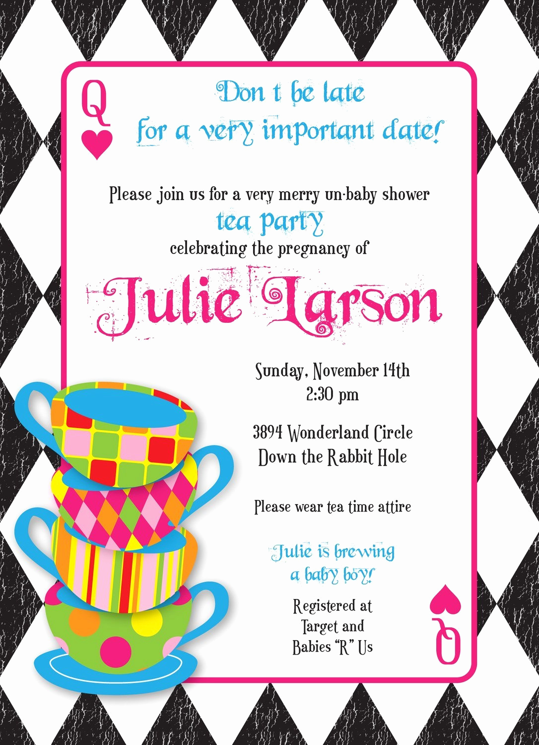 Tea Party Invitation Templates Awesome Mad Hatter Tea Party Custom Baby Shower Invitation