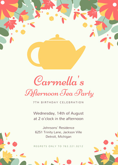 Tea Party Invitation Templates Beautiful Customize 2 885 Tea Party Invitation Templates Online Canva