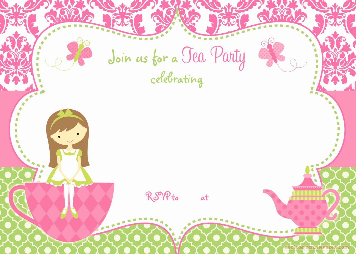 Tea Party Invitation Templates Beautiful Free Printable Tea Party Invitation Template for Girl