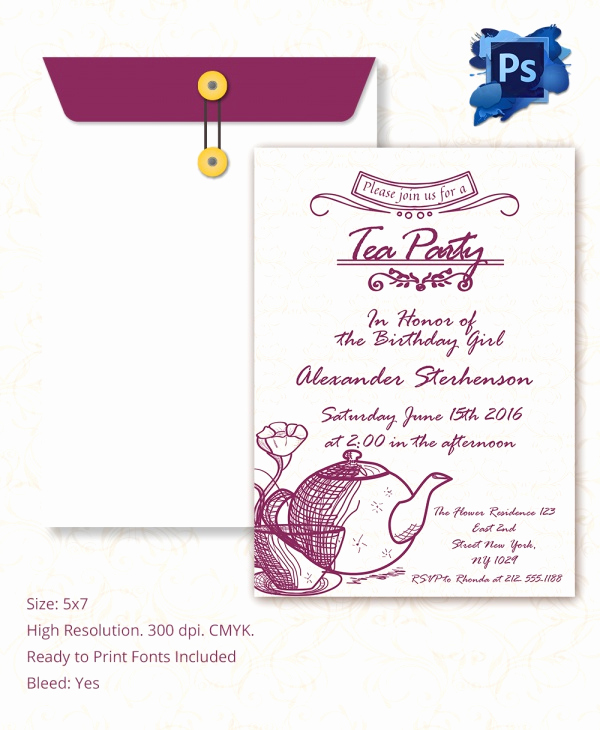 Tea Party Invitation Templates Best Of Sample Invitation Template Download Premium and Free