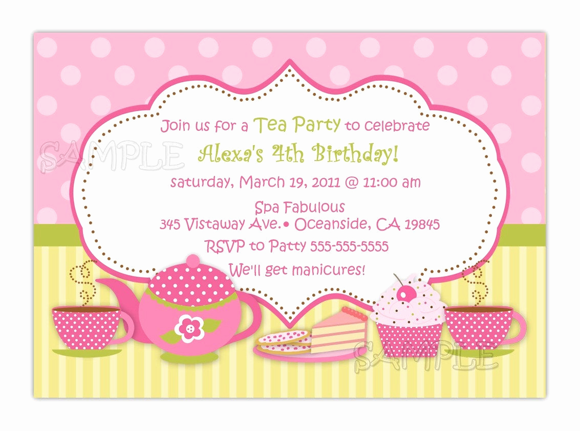 Tea Party Invitation Templates Elegant Tea Party Birthday Invitation You Print