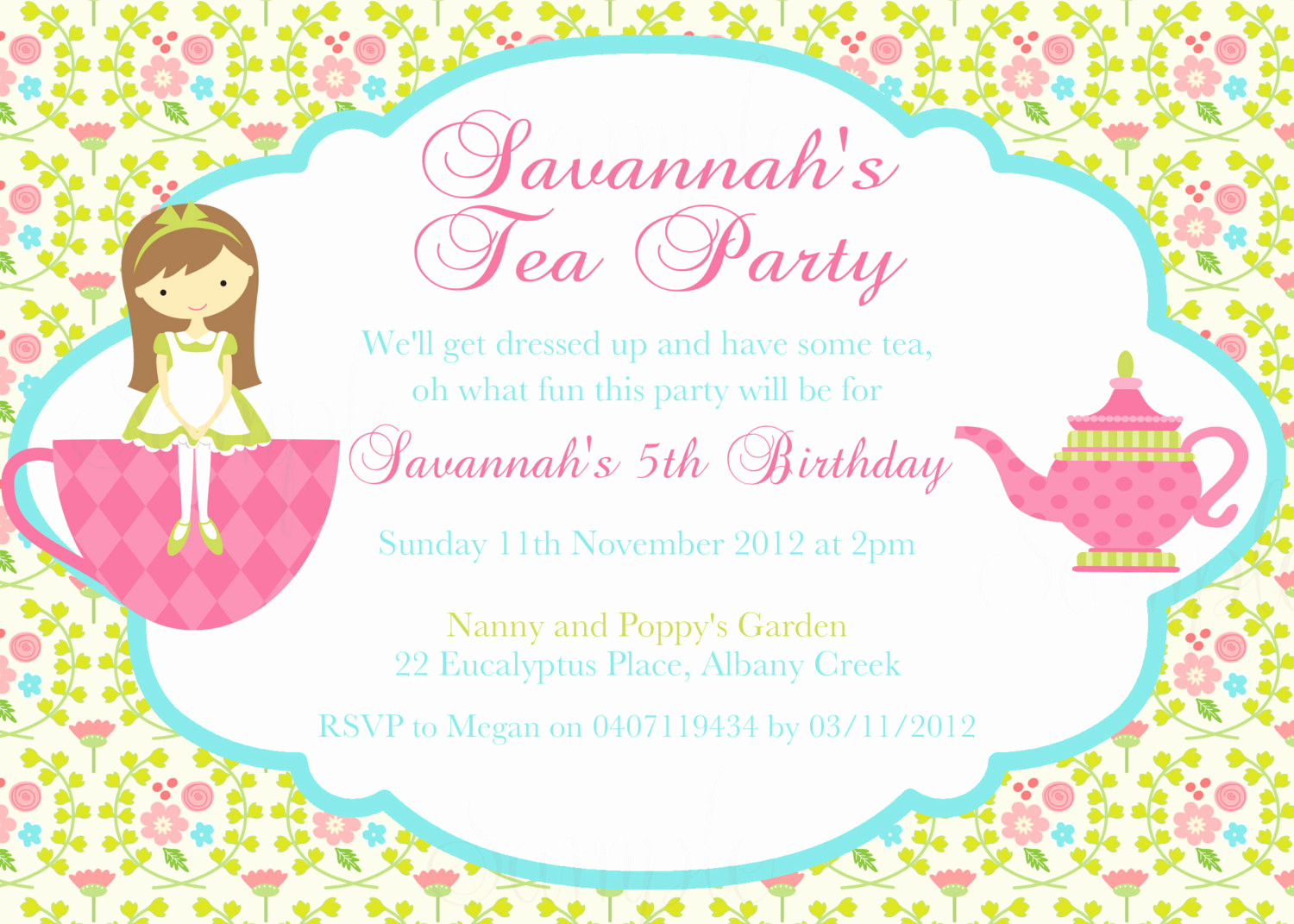 Tea Party Invitation Templates Elegant Tea Party Birthday theme Printable Invitation and Gift Favor