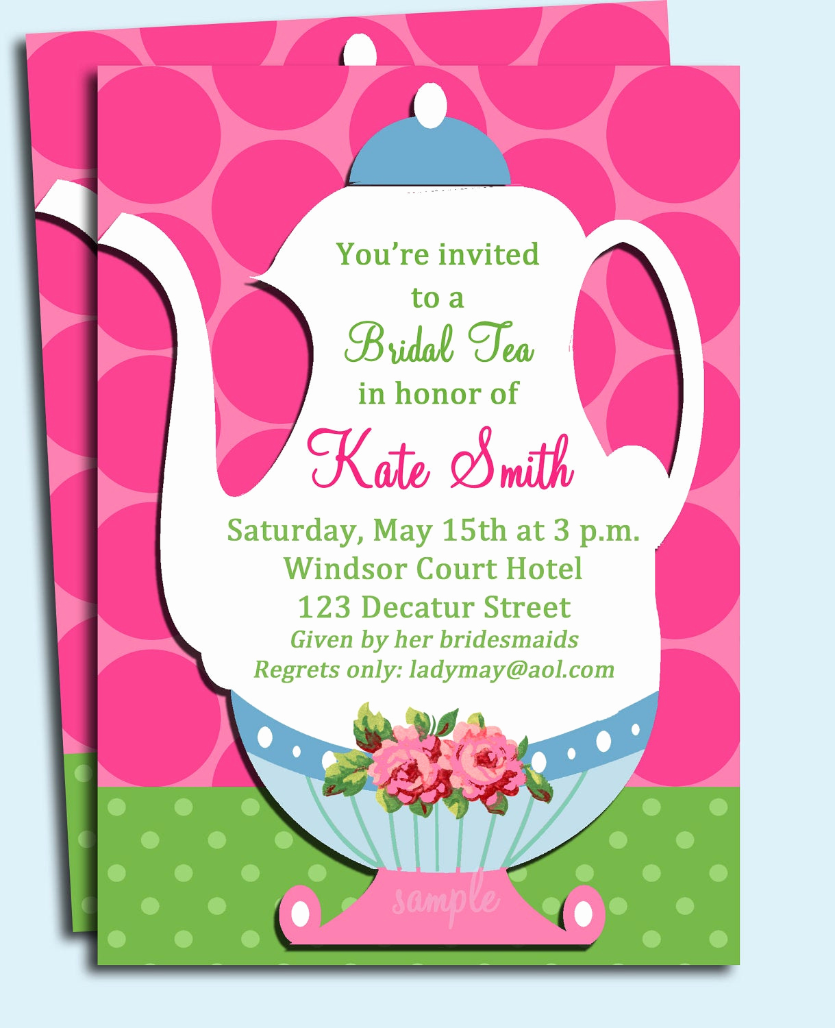 tea party invitation printable wedding
