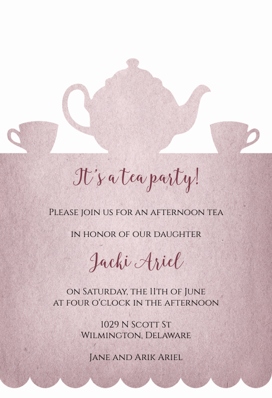 Tea Party Invitation Templates Elegant Tea Party Invitation Template Free