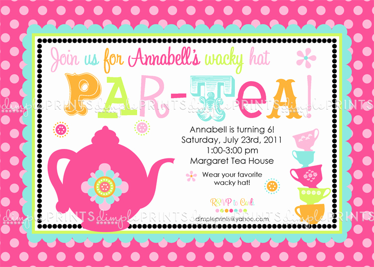 Tea Party Invitation Templates Fresh Tea Party Printable Birthday or Shower Invite Dimple