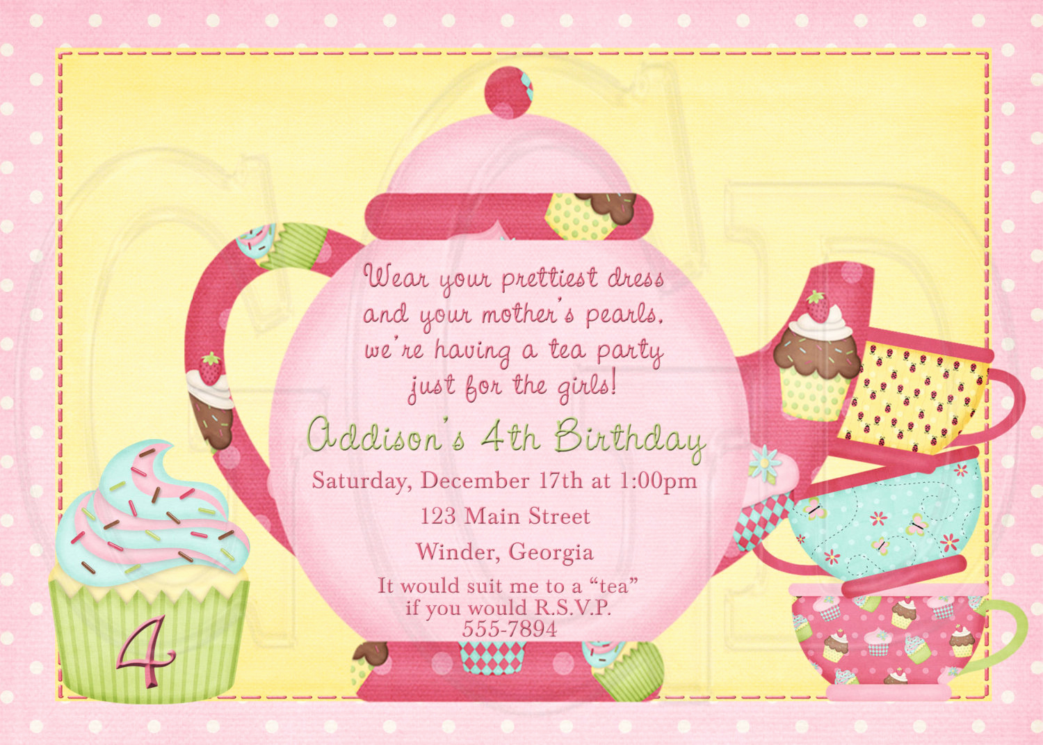 Tea Party Invitation Templates Inspirational Tea Party Invitation Birthday Dress Up Party Digital File
