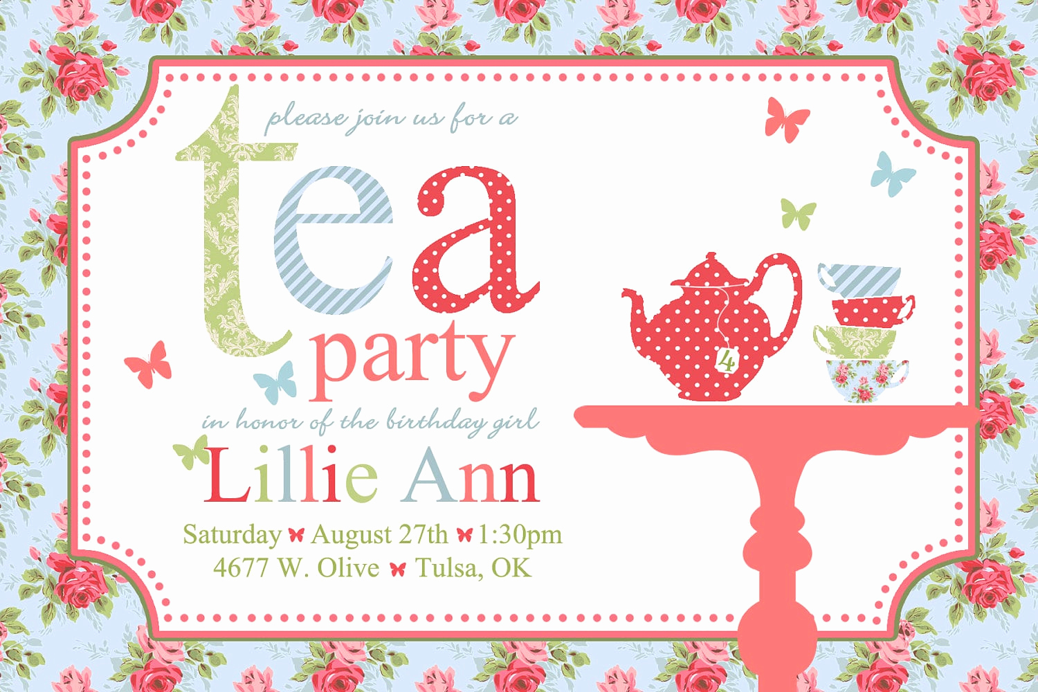 Tea Party Invitation Templates Lovely Free afternoon Tea Invitation Template