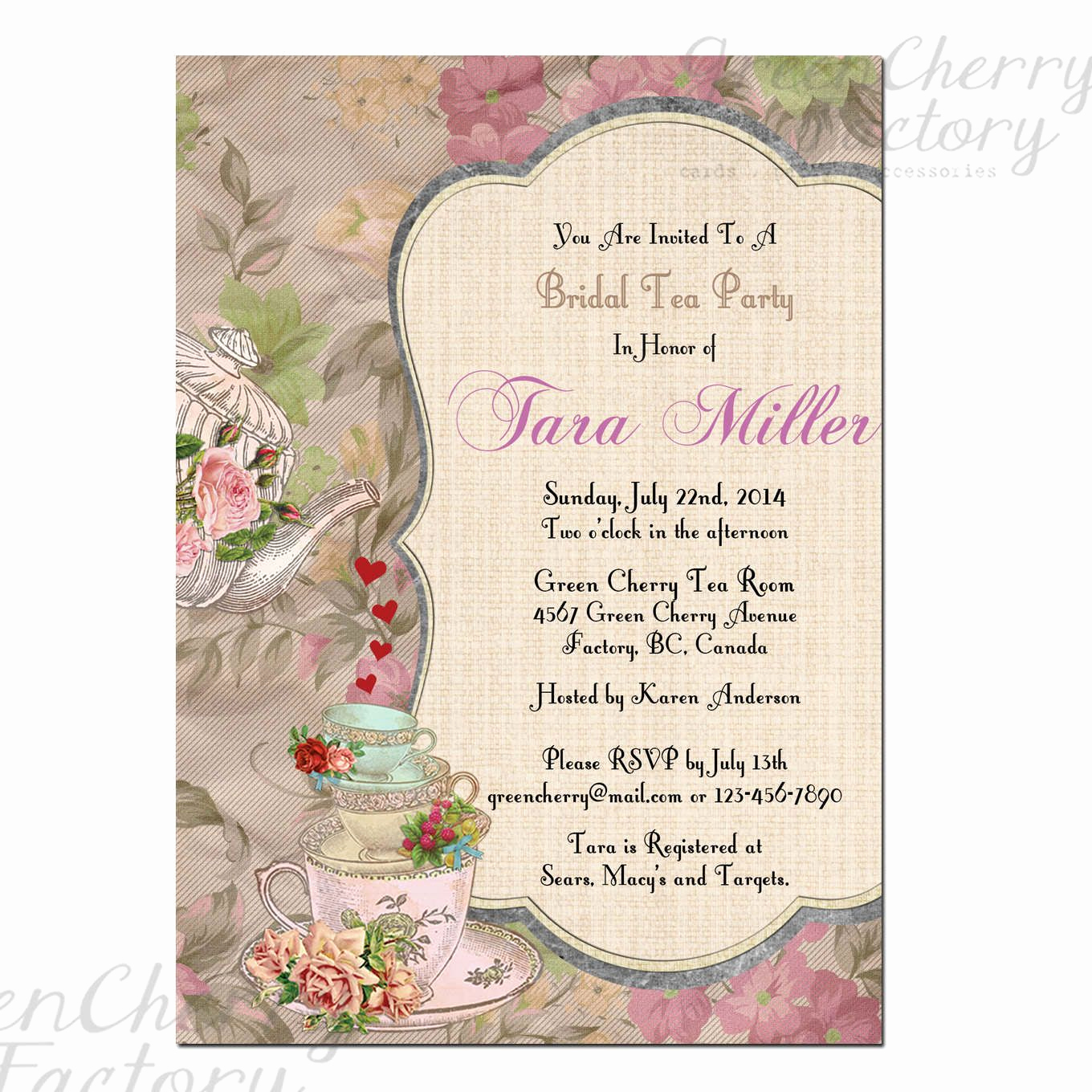 Tea Party Invitation Templates Luxury Tea Party Invitation Template