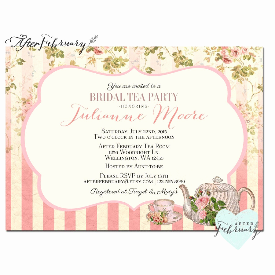 Tea Party Invitation Wording Awesome Bridal Shower Tea Party Invite Tea Party Invitation Bridal