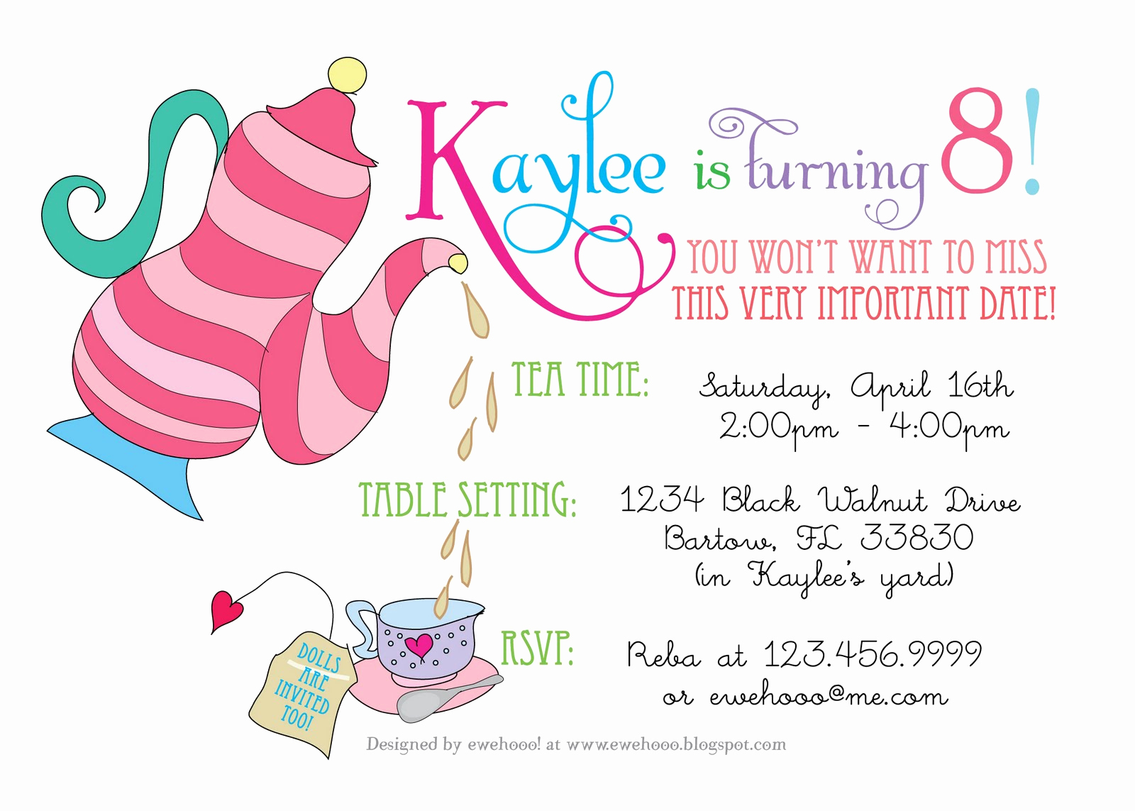 Tea Party Invitation Wording Awesome Ewe Hooo A Delightful Doll Tea Party
