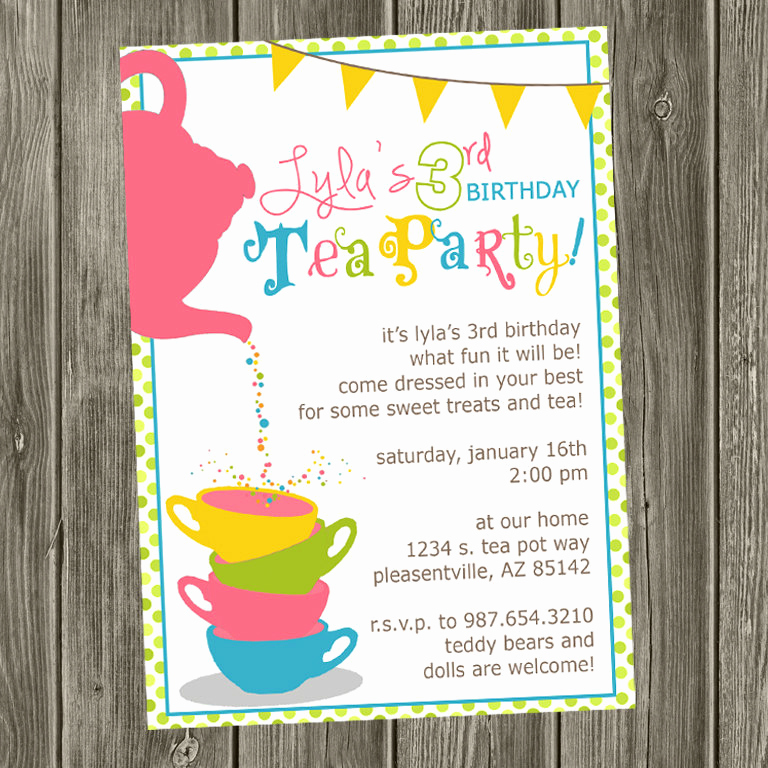Tea Party Invitation Wording Awesome Tea Party Birthday Invitation