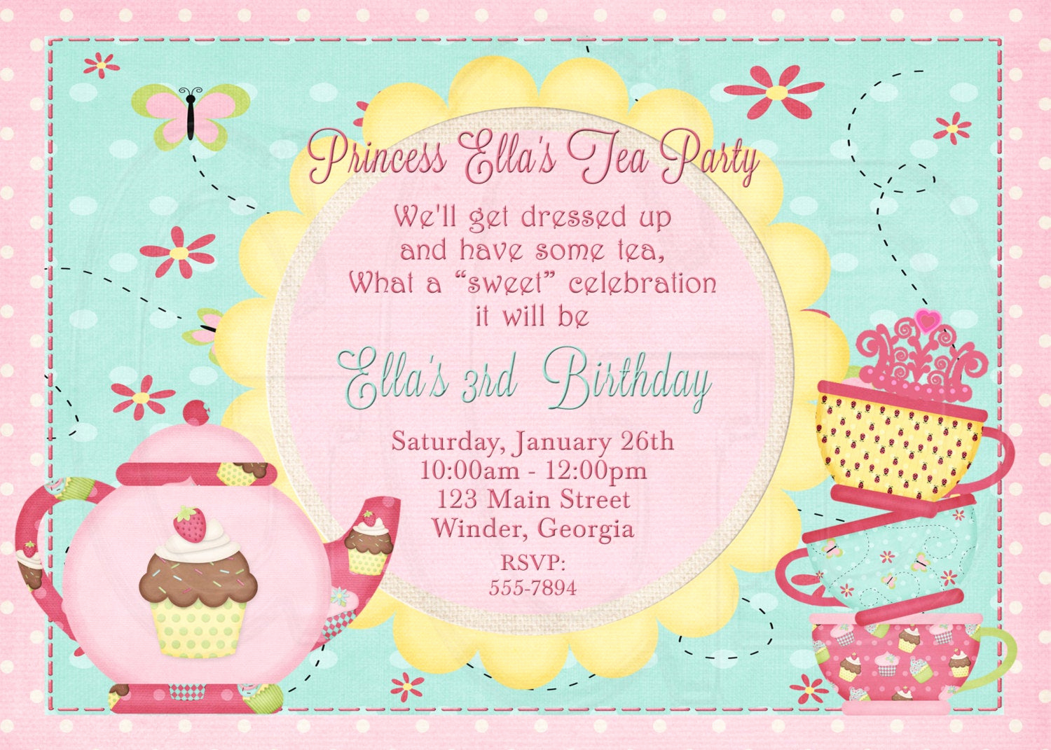 Tea Party Invitation Wording Beautiful Tea Party Invitation Birthday Dress Up Party Digital File