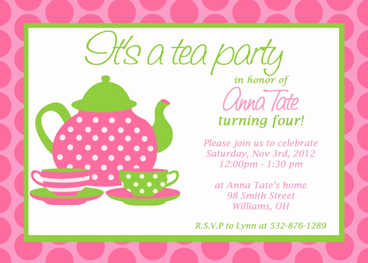 Tea Party Invitation Wording Elegant Custom Printable Tea Party Invitation