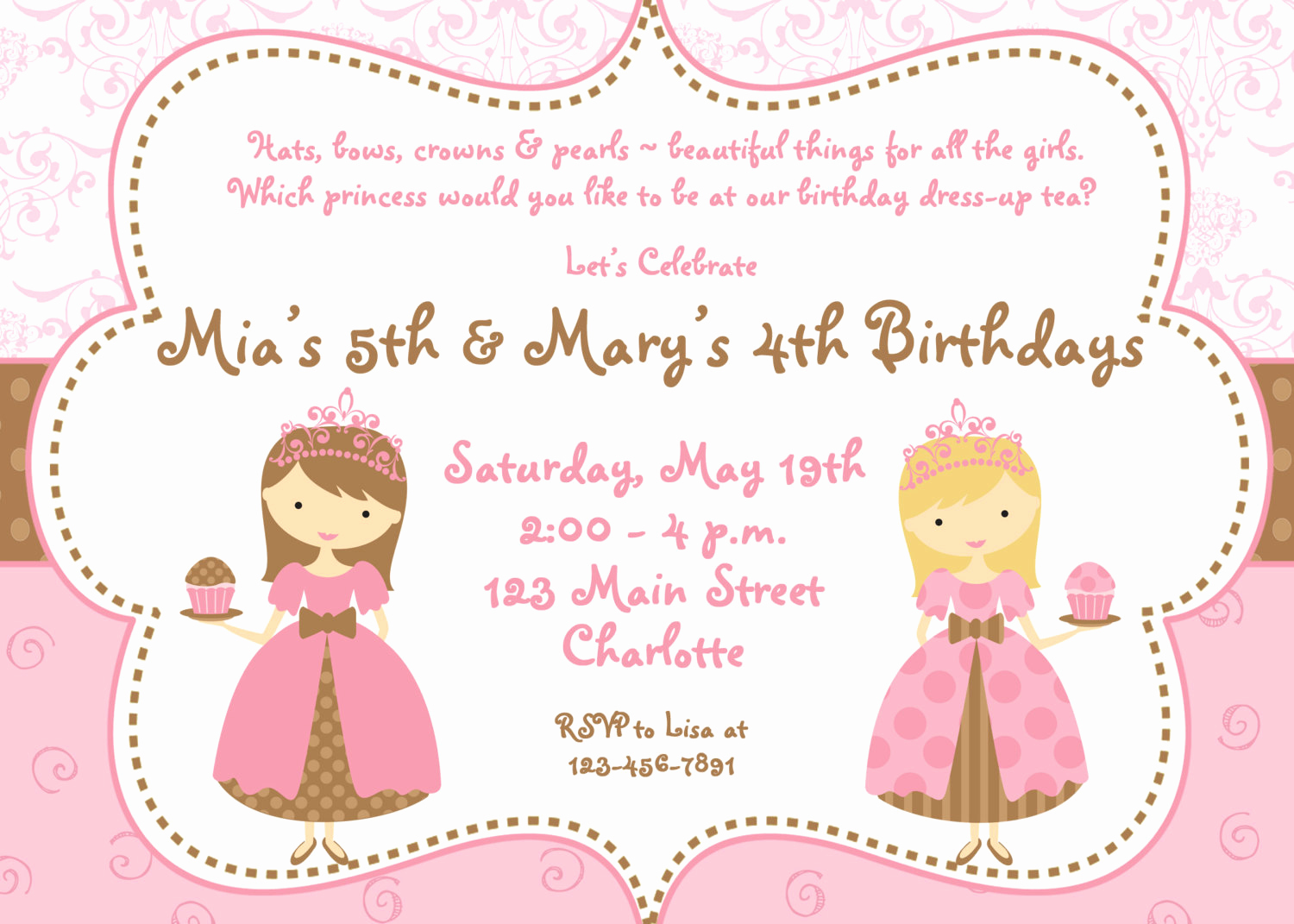 Tea Party Invitation Wording Inspirational Tea Party Birthday Invitation Cupcake Party Princess Tea