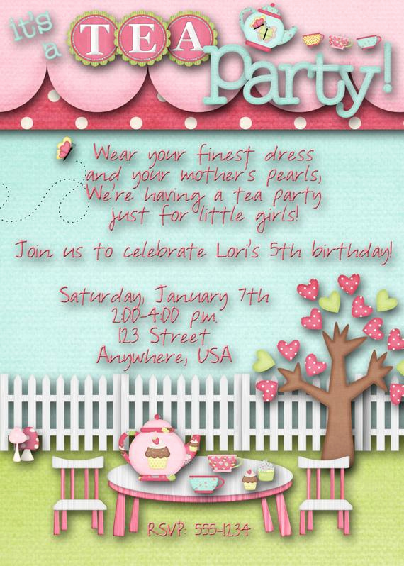 Tea Party Invitation Wording Inspirational Tea Party Birthday Party Invitation