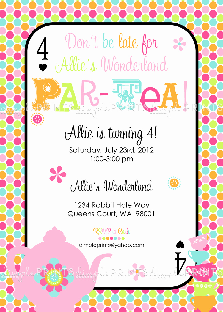 Tea Party Invitation Wording Inspirational Tea Party Par Tea Printable Invite Dimple Prints Shop