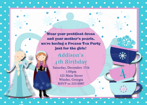 Tea Party Invitation Wording Lovely Ice Princess Tea Party Invitation Birthday Digital File