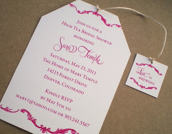 Tea Party Invitation Wording Luxury High Tea Bridal Shower Invitations