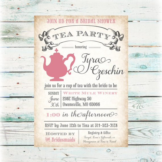 Tea Party Invitation Wording Luxury Tea Party Bridal Shower Invitation Diy Digital File