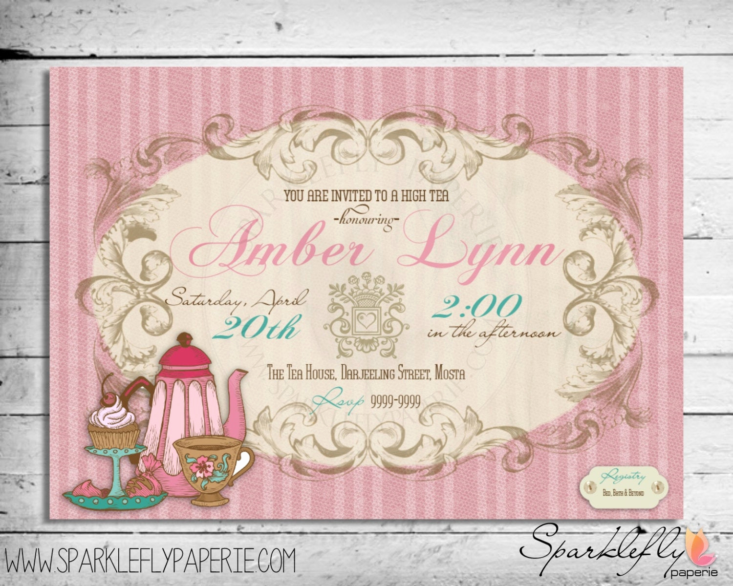 Tea Party Invitation Wording Luxury Vintage High Tea Party Invitation Bridal by Sparkleflypaperie