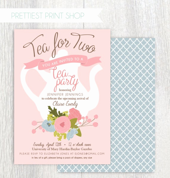 Tea Party Invitation Wording New Printable Tea Party Baby Shower Invitation Tea Pot Floral