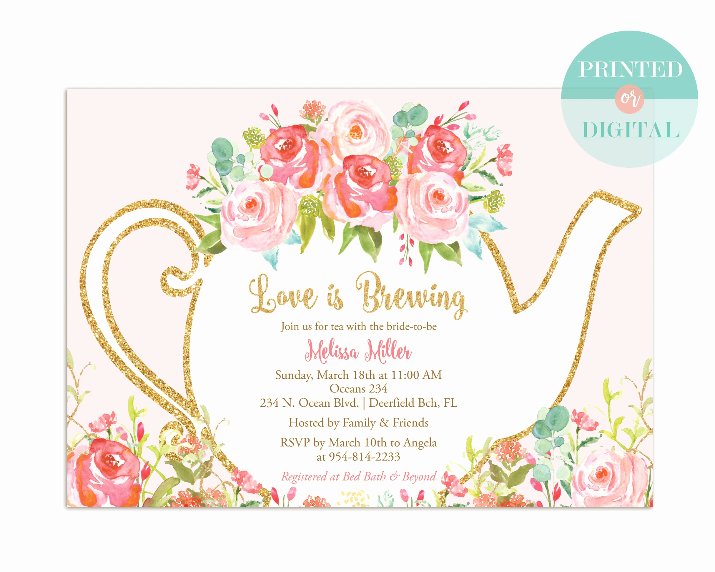 Tea Party Invitation Wording Unique Bridal Shower Tea Party Invitation Garden Tea Party