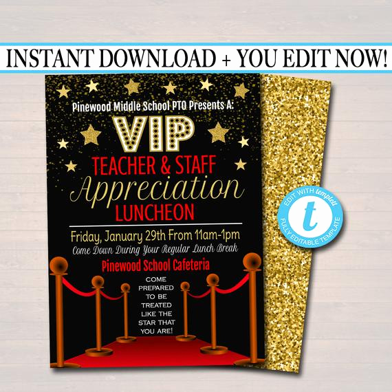 Teacher Appreciation Lunch Invitation Wording Beautiful Editable Teacher Appreciation Staff Invitation Chalkboard